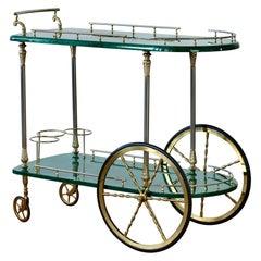 Aldo Tura 1950s Vintage Bar Cart, Trolley or Stand in Green Italian Goatskin