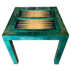 Aldo Tura 1960s Green Vellum Games Table, Backgammon and Plain Double Sided Top