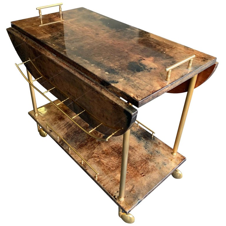 Aldo Tura 1960s Lacquered Goatskin Bar Cart with Extendable Top For Sale