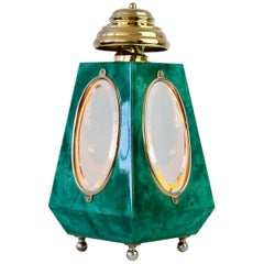 Aldo Tura 1960s Midcentury Table Lamp / Lantern in Green Italian Goatskin