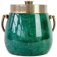Aldo Tura 1960s Vintage Midcentury Ice Bucket in Green Italian Goatskin