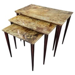 Aldo Tura 3 Parchment, Lacquered Wood and Brass Midcentury Occasional Tables