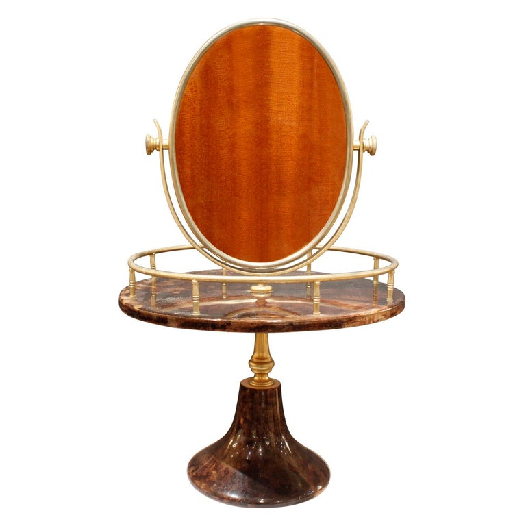 Italian Aldo Tura Adjustable Vanity Mirror in Lacquered Goatskin, 1970s For Sale