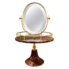 Aldo Tura Adjustable Vanity Mirror in Lacquered Goatskin, 1970s