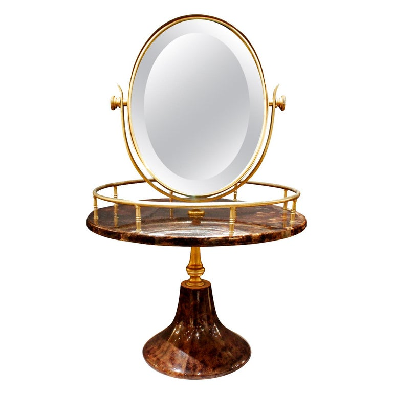 Aldo Tura Adjustable Vanity Mirror in Lacquered Goatskin, 1970s For Sale