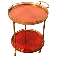 Aldo Tura Bar Cart Serving Liquor Trolley in Brass and Red Dyed Vellum Goatskin