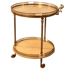Aldo Tura Bar Cart Serving Liquor Trolley in Brass Crème Dyed Vellum Goatskin
