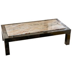 Aldo Tura Black/Brown Parchment Coffee Table, Marble Top, Italy, 1970s.