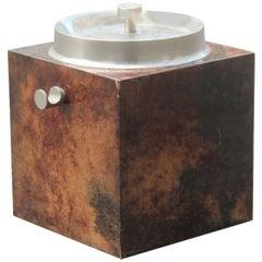 Aldo Tura Box Ice Goatsking Brown Italian Mid-Century Modern Design 1950s Cube