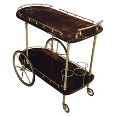 Aldo Tura Brass and Lacquered Goatskin Bar or Serving Cart in Dark Brown, 1970s