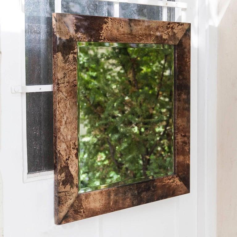 Hollywood Regency Aldo Tura Brown Goatskin Wall Mirror For Sale