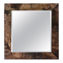 Aldo Tura Brown Goatskin Wall Mirror