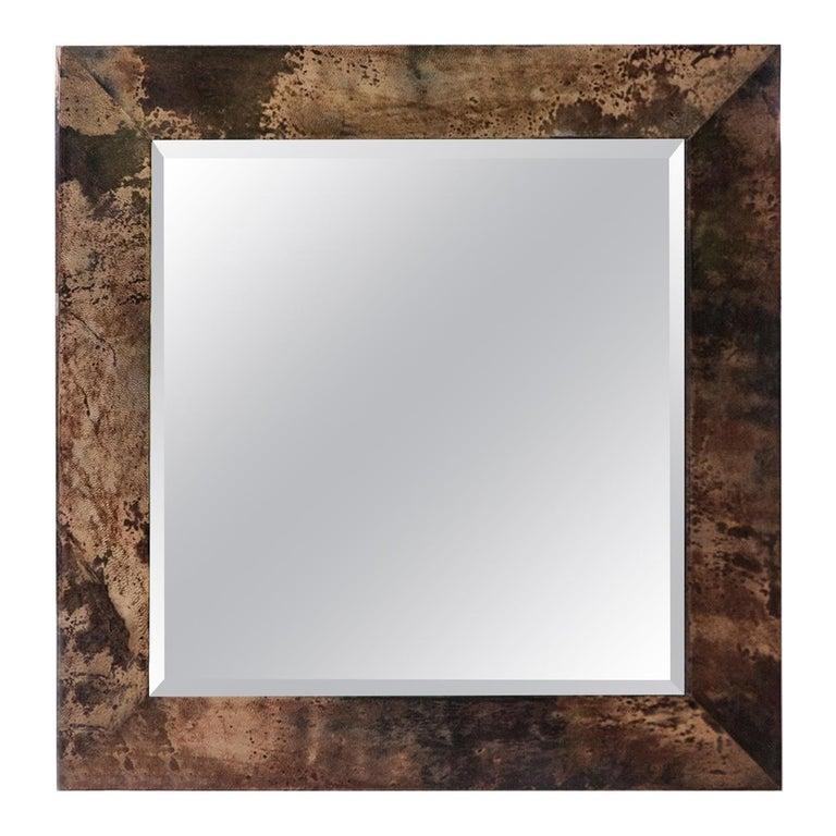 Aldo Tura Brown Goatskin Wall Mirror For Sale
