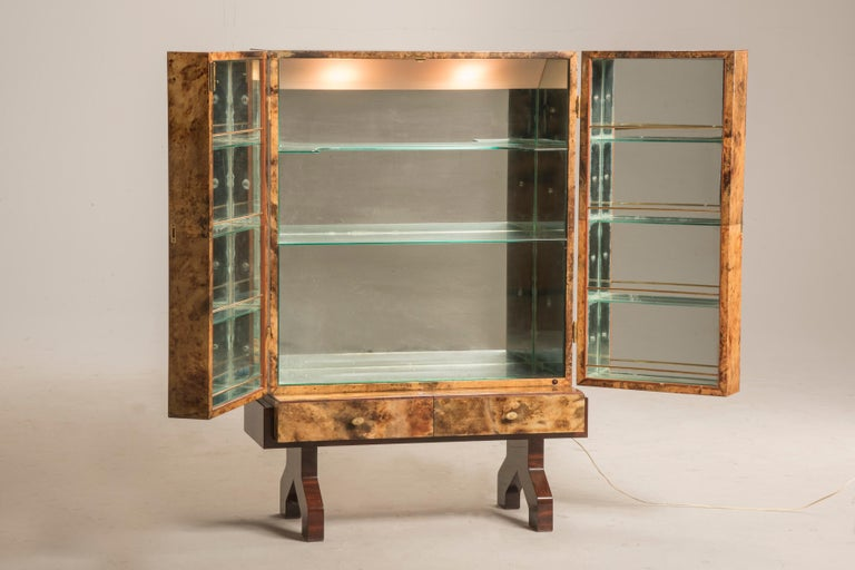 Modern Aldo Tura Brown Parchment Brass Hardware Two Doors Lit from Within Dry Bar 1950s