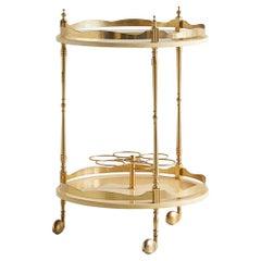 Aldo Tura Circular Italian Bar Cart in Lacquered Goatskin