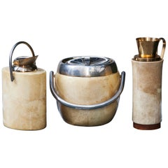 Aldo Tura Cream Goatskin Ice Bucket Carafe Pitcher Set of Three