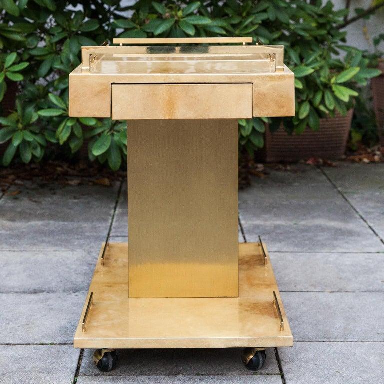 Aldo Tura Creme Goatskin Bar Cart Champagne Holder For Sale 5
