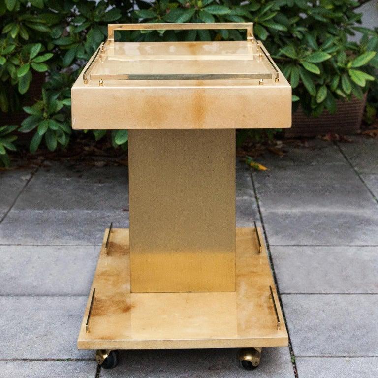 Late 20th Century Aldo Tura Creme Goatskin Bar Cart Champagne Holder For Sale