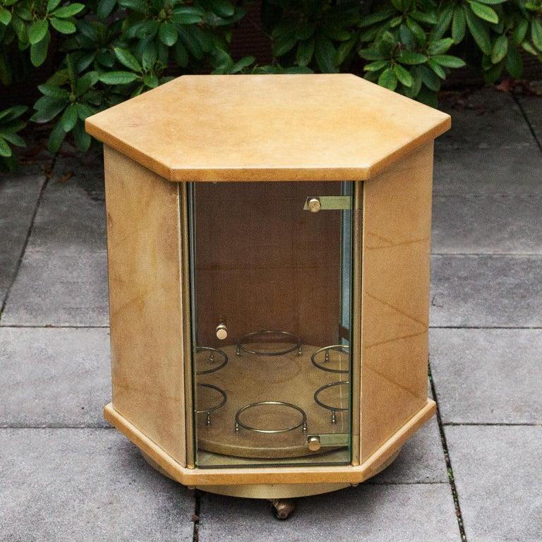 Hollywood Regency Aldo Tura Creme Goatskin Hexagonal Bar Cart For Sale