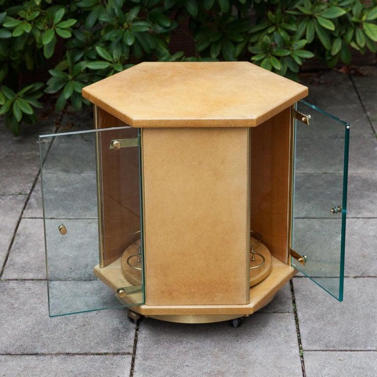 Italian Aldo Tura Creme Goatskin Hexagonal Bar Cart For Sale