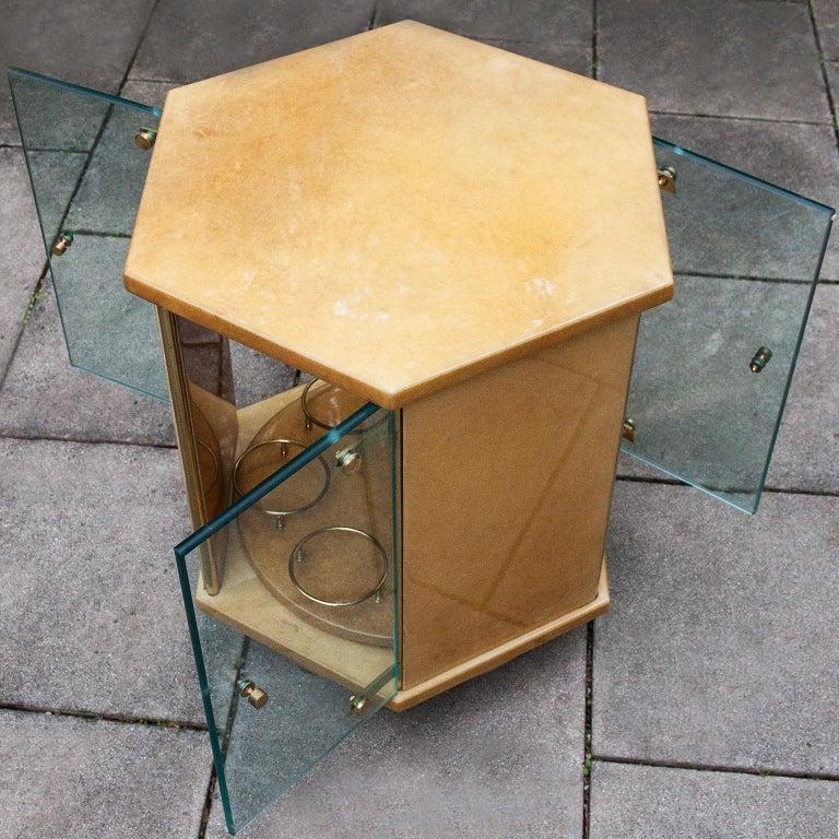 Late 20th Century Aldo Tura Creme Goatskin Hexagonal Bar Cart For Sale