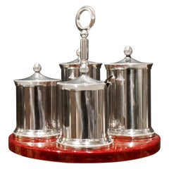 Aldo Tura Cruet Set in Red Lacquered Goatskin and Stainless Steel 1970s 'Signed'