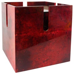 Aldo Tura Dark Red Lacquered Goatskin End or Centre Sofa or Center Table