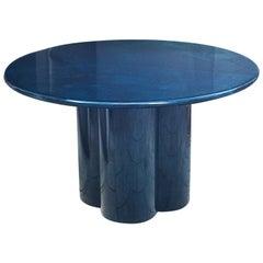 Aldo Tura Deep Blue Goatskin Round Dining Table, 1970s