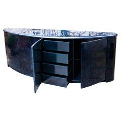 Aldo Tura Deep Blue Goatskin Sideboard, 1980s
