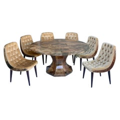 Aldo Tura Dining Set, Goatskin Parchment Table with 6 Velvet Chairs, Italy 1950s