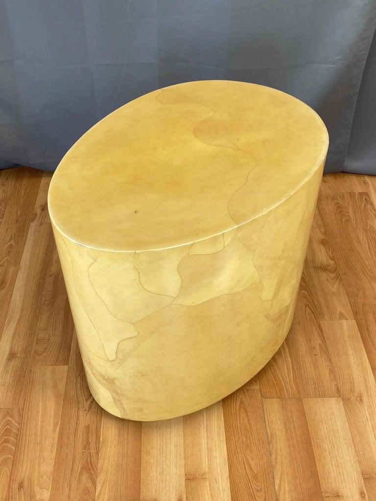 Aldo Tura Egg-Shaped Goatskin Side Table, Late 1960s For Sale 5
