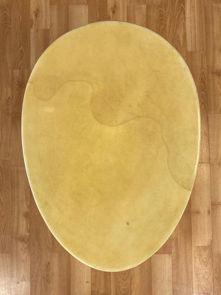 Aldo Tura Egg-Shaped Goatskin Side Table, Late 1960s For Sale 6