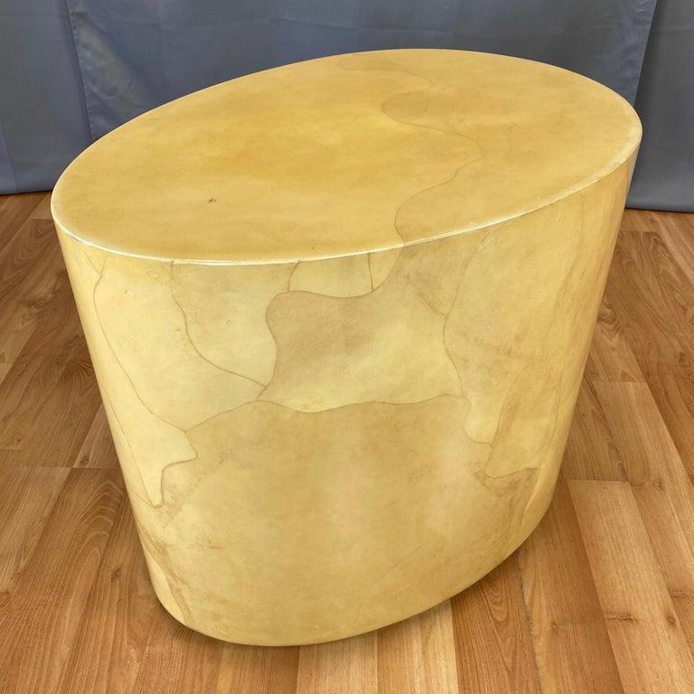 Mid-Century Modern Aldo Tura Egg-Shaped Goatskin Side Table, Late 1960s For Sale