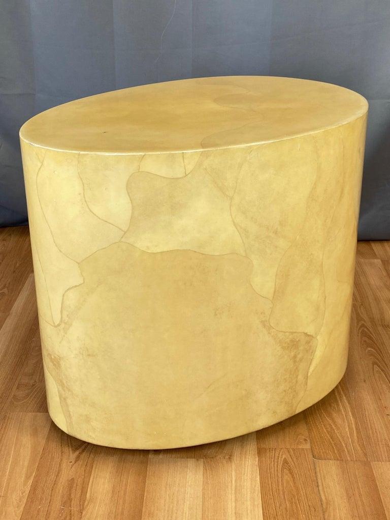 Italian Aldo Tura Egg-Shaped Goatskin Side Table, Late 1960s For Sale