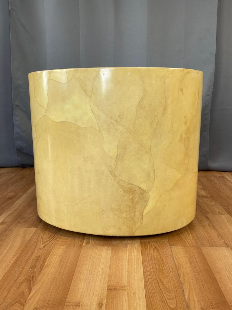 Lacquered Aldo Tura Egg-Shaped Goatskin Side Table, Late 1960s For Sale