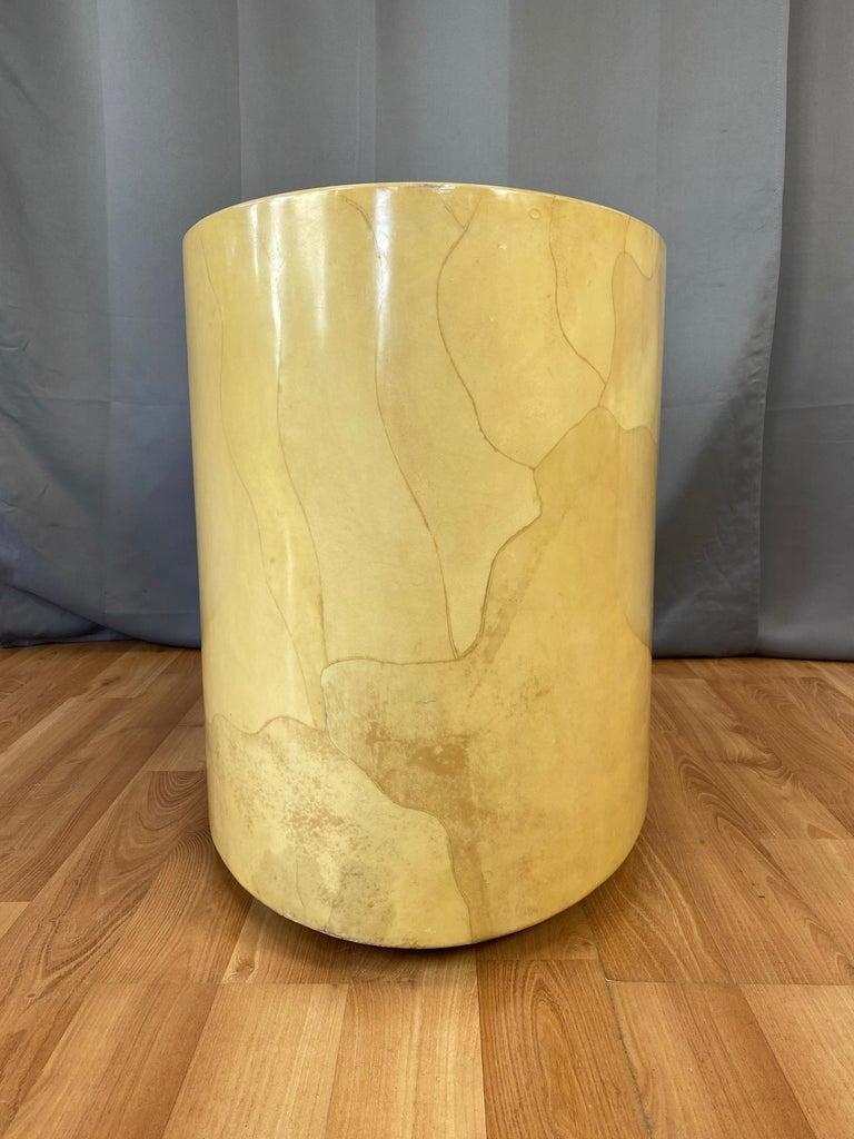 Aldo Tura Egg-Shaped Goatskin Side Table, Late 1960s For Sale 1