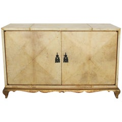 Aldo Tura Elegant Goatskin Gilt Cabinet in Blonde Parchment 1960s Italy