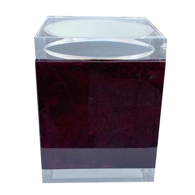 Aldo Tura. Ice bucket in mahogany and Lucite covered in goatskin.