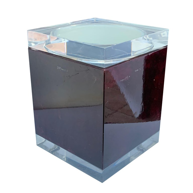 Mid-Century Modern Aldo Tura for Ice Bucket in Mahogany and Lucite Covered in Goatskin, Italy 1970s For Sale