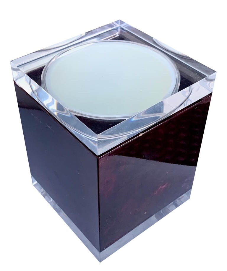 Italian Aldo Tura for Ice Bucket in Mahogany and Lucite Covered in Goatskin, Italy 1970s For Sale