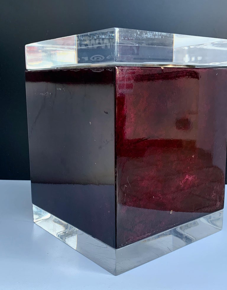 Aldo Tura for Ice Bucket in Mahogany and Lucite Covered in Goatskin, Italy 1970s In Good Condition For Sale In Roma, IT