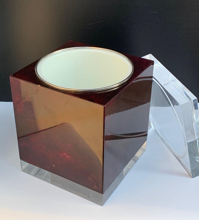 Late 20th Century Aldo Tura for Ice Bucket in Mahogany and Lucite Covered in Goatskin, Italy 1970s For Sale