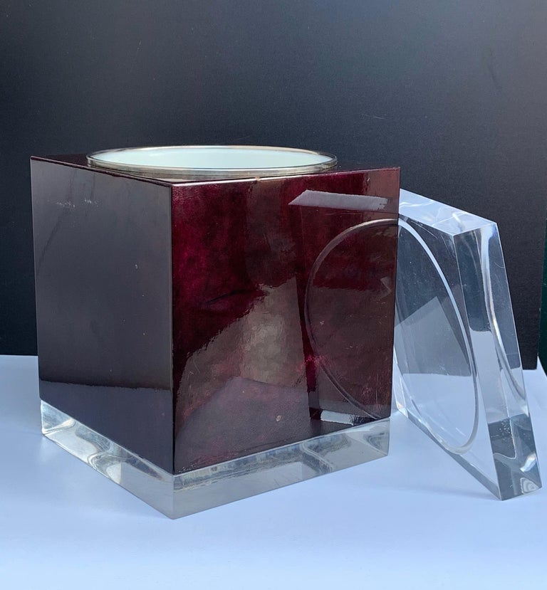 Aldo Tura for Ice Bucket in Mahogany and Lucite Covered in Goatskin, Italy 1970s For Sale 2