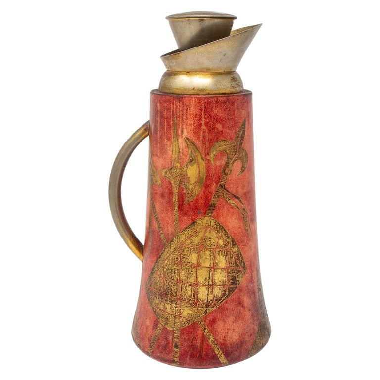 Aldo Tura for Macabo of Italy Leather and Brass Decanter For Sale
