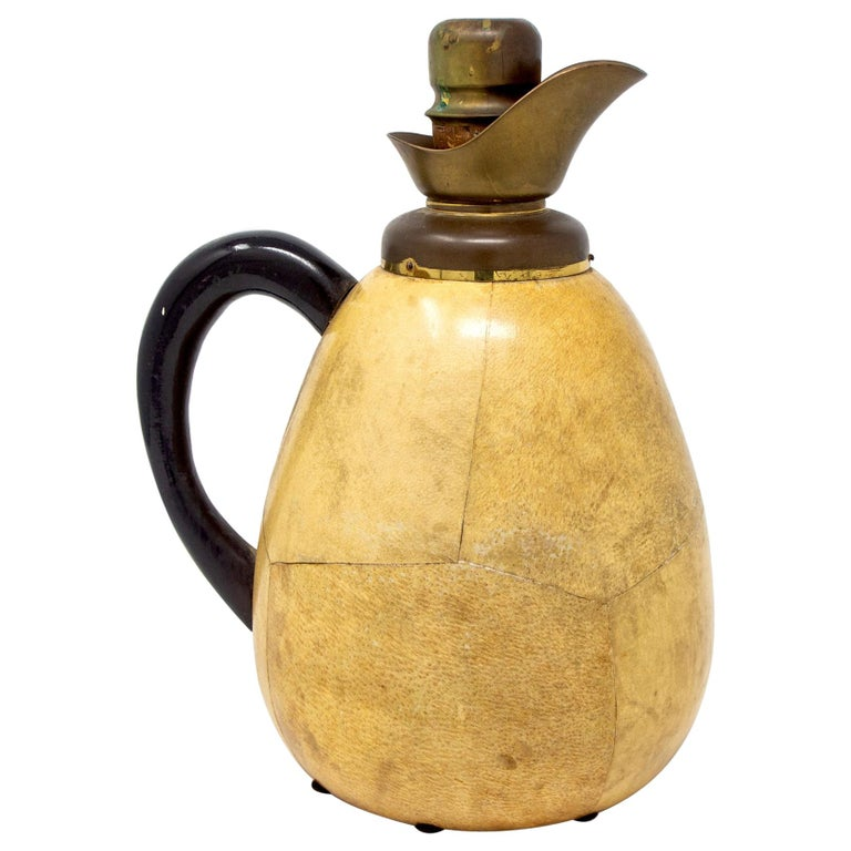 Aldo Tura for Macabo Vellum and Brass Pitcher For Sale