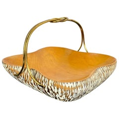 Aldo Tura for Macabo Walnut Bowl Basket Centrepiece Wood and Brass, Italy, 1950s
