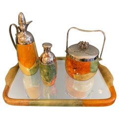 Aldo Tura Goat Skinned Mirrored Tray, Ice Bucket, Cocktail Shaker and Carafe