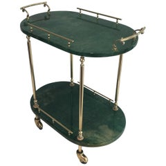 Aldo Tura, Goatskin and Gilt Metal Bar Cart, Italian, circa 1960