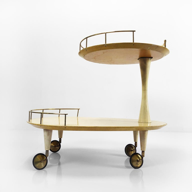 Aldo Tura goatskin bar cart with brass accents, circa 1960s.