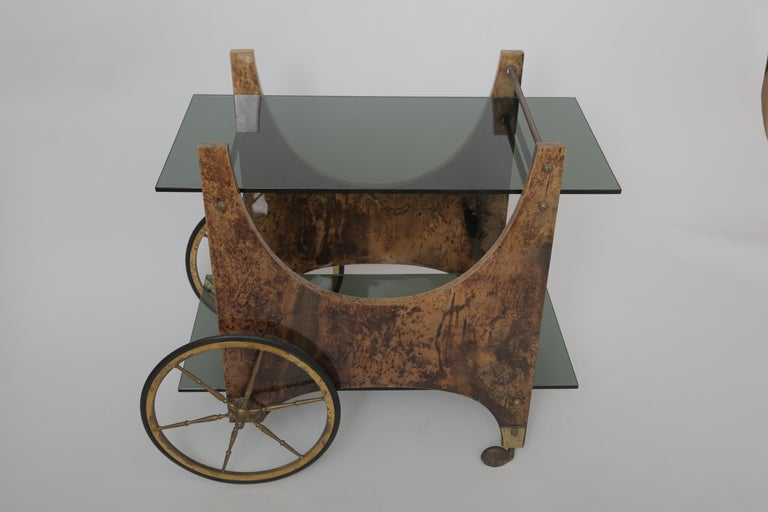 Aldo Tura Goatskin Bar Cart In Good Condition For Sale In West Palm Beach, FL